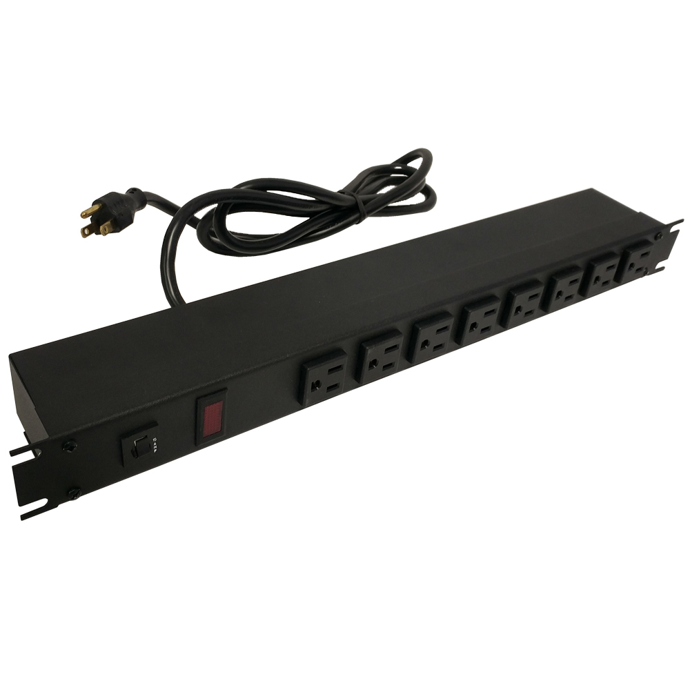 1582T8A1BK: 19 Inch 8 Outlet Horizontal Rack Mount Power Strip - 6ft Cord, 5-15P Plug, 5-15R Front Receptacles