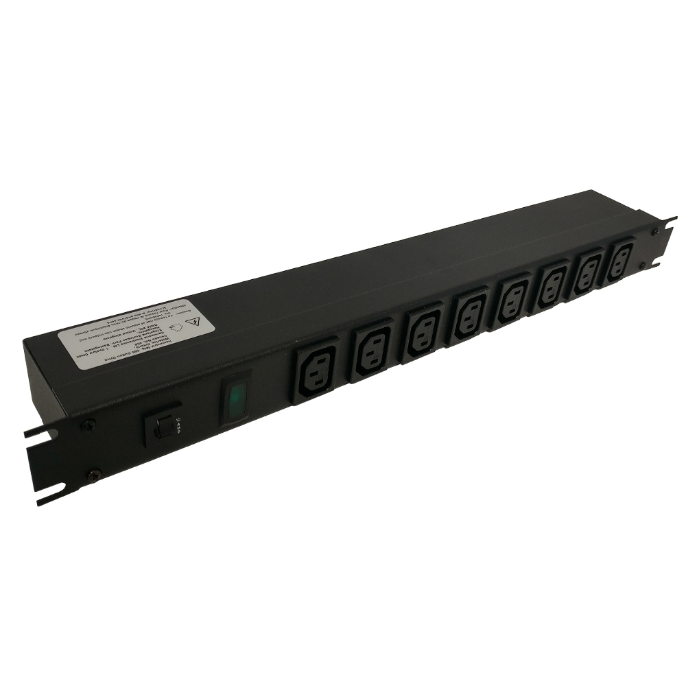 1582T8E1BK: 19 Inch 8 Outlet Horizontal Rack Mount Power Strip - C14 Inlet, C13 Front Receptacles