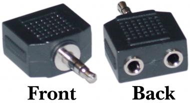 A-251235MF: 2.5mm stereo male to 2 x 3.5mm stereo female adapter