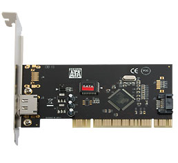 CARD-ESATA3512: Syba PCI to 1 SATA and 1 eSATA card