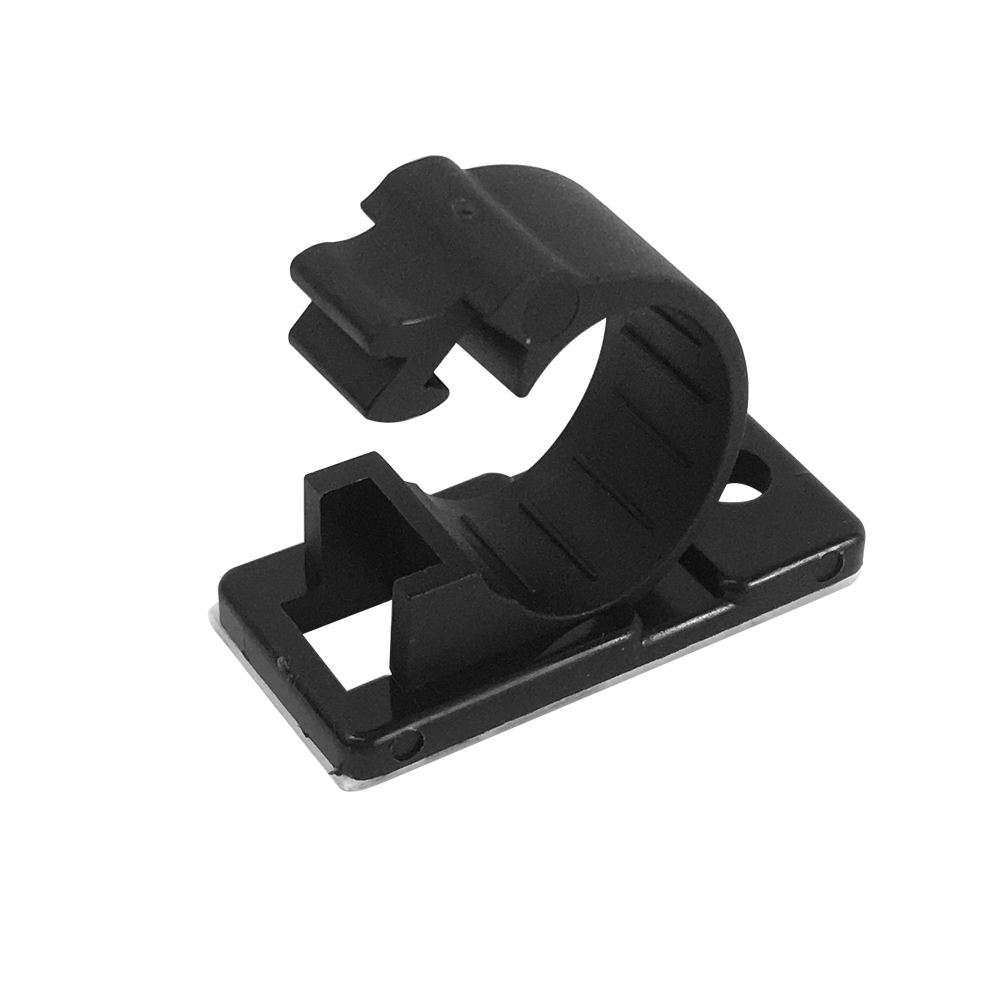 CC-210-BK: 100pk Cable Clamp, 12mm OD Cable, Self-Adhesive or Screw-Down - Black
