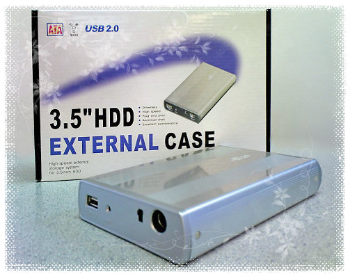"HF-ENC-FRK3502: Travel Star 3.5"" Ext.USB2.0 HDD Enclosure w/stripe(Alum)"