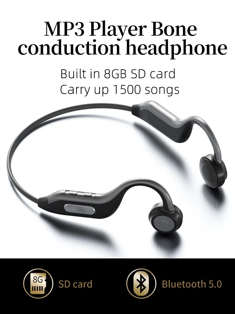 HF-B1: Bone Conduction Bluetooth 5.0 Outdoor Sport Waterproof Wireless Headphones with 8G SD