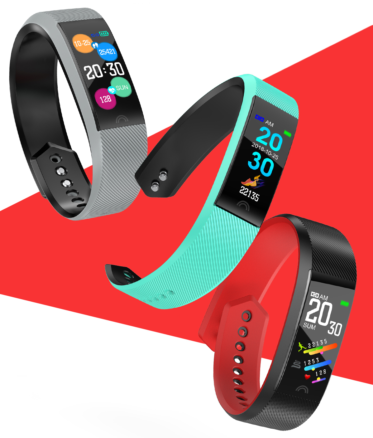 HF-F6: Smart Wristband Bluetooth Heart Rate Monitor Waterproof Smart Sport Bracelet Watc6