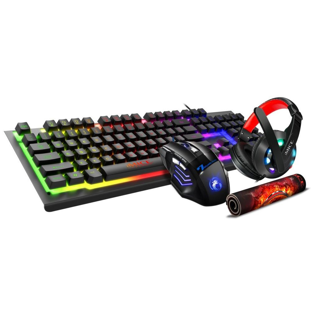 HF-GK470: 4 in 1 Gaming Keboard & Mouse Combo w/Headset + Gaming Pad
