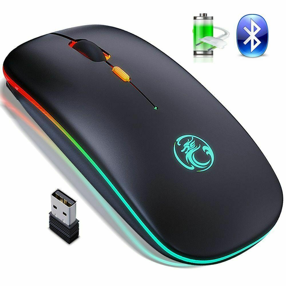 HF-IME1300: Dual Mode 2.4Ghz Mouse Wireless Computer Bluetooth 5.0 USB Rechargeable Silent RGB Ergonomic Mice Luminous mouse Backlit