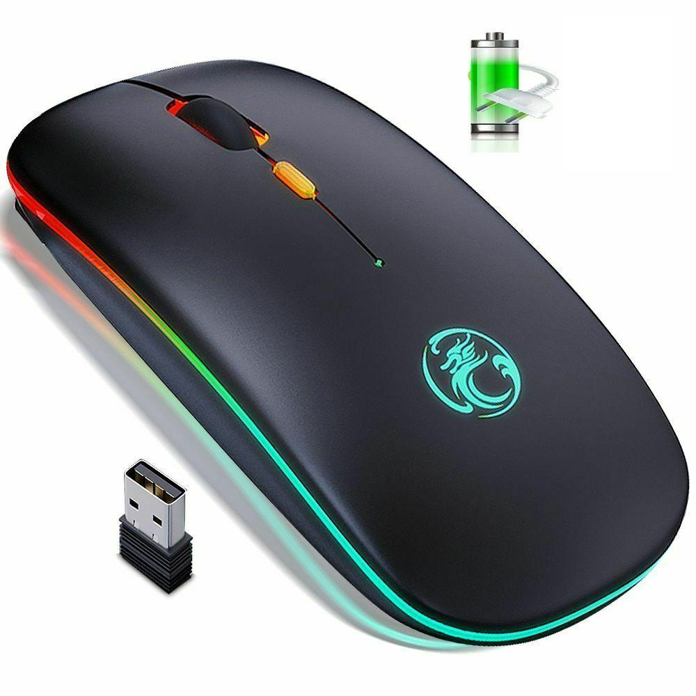 HF-IMEW1300: Rechargeable USB 2.4Ghz Wireless Silent Ergonomic Light Mouse Gaming Optical PC Mice for Laptop LED Backlit