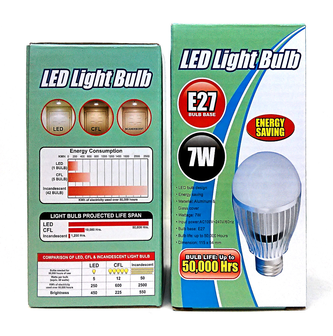 HF-LED-BULB-7WE27: LED 7W Power Saving Replacement Light Bulb