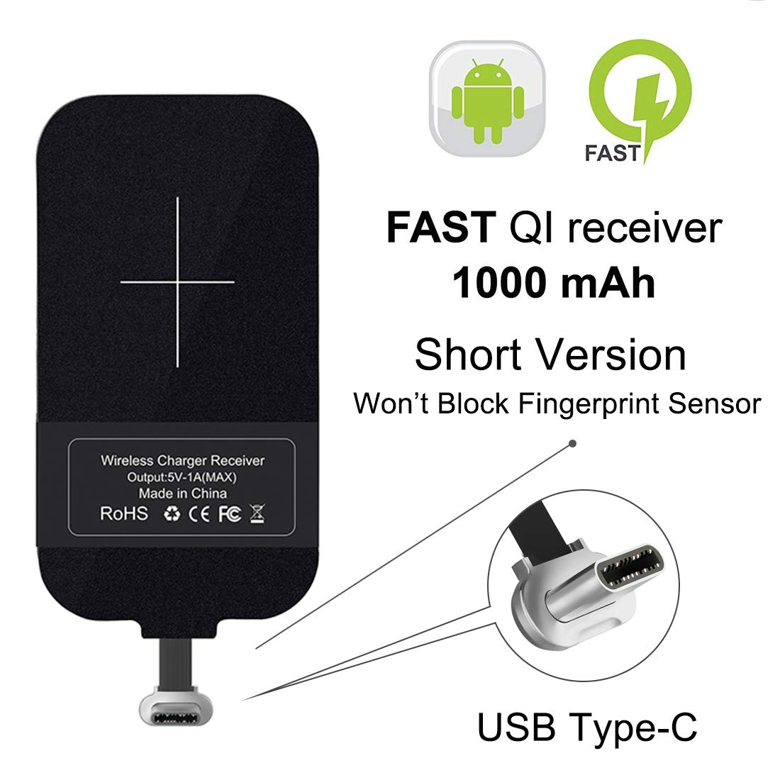 HF-U3-WCR: Wireless Charging Receiver,QI Wireless Charger Receiver Module with Type-C