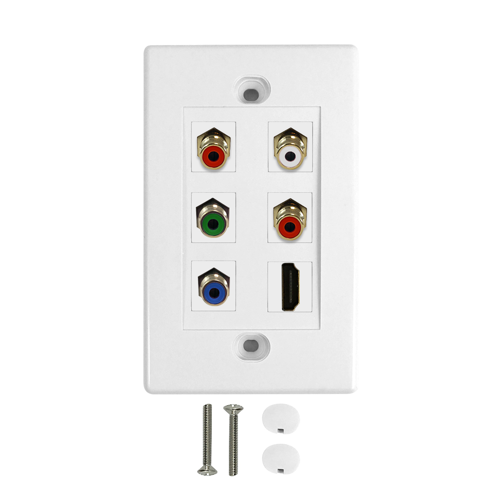 HF-WPK-HYLR: Component + HDMI + Left/Right Audio Wall Plate Kit - White