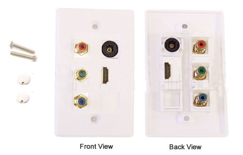 HF-WPK-HYT1: Component + HDMI + Toslink Wall Plate Kit - White