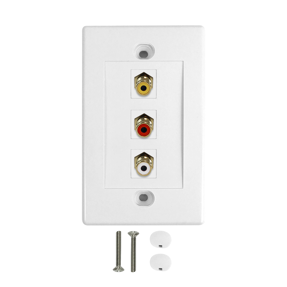 HF-WPK-RCA: Composite + Left/Right Audio Wall Plate Kit - White