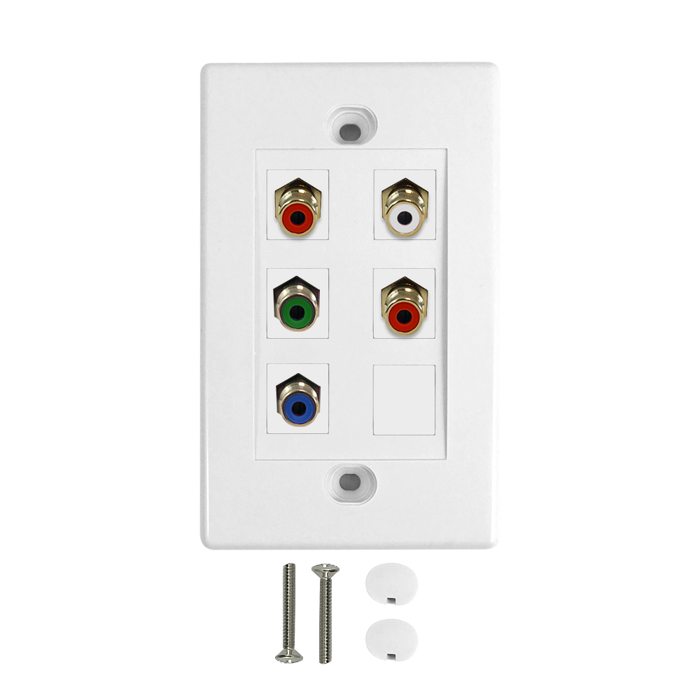 HF-WPK-RGBA1: Component + Left/Right Audio Wall Plate Kit - White
