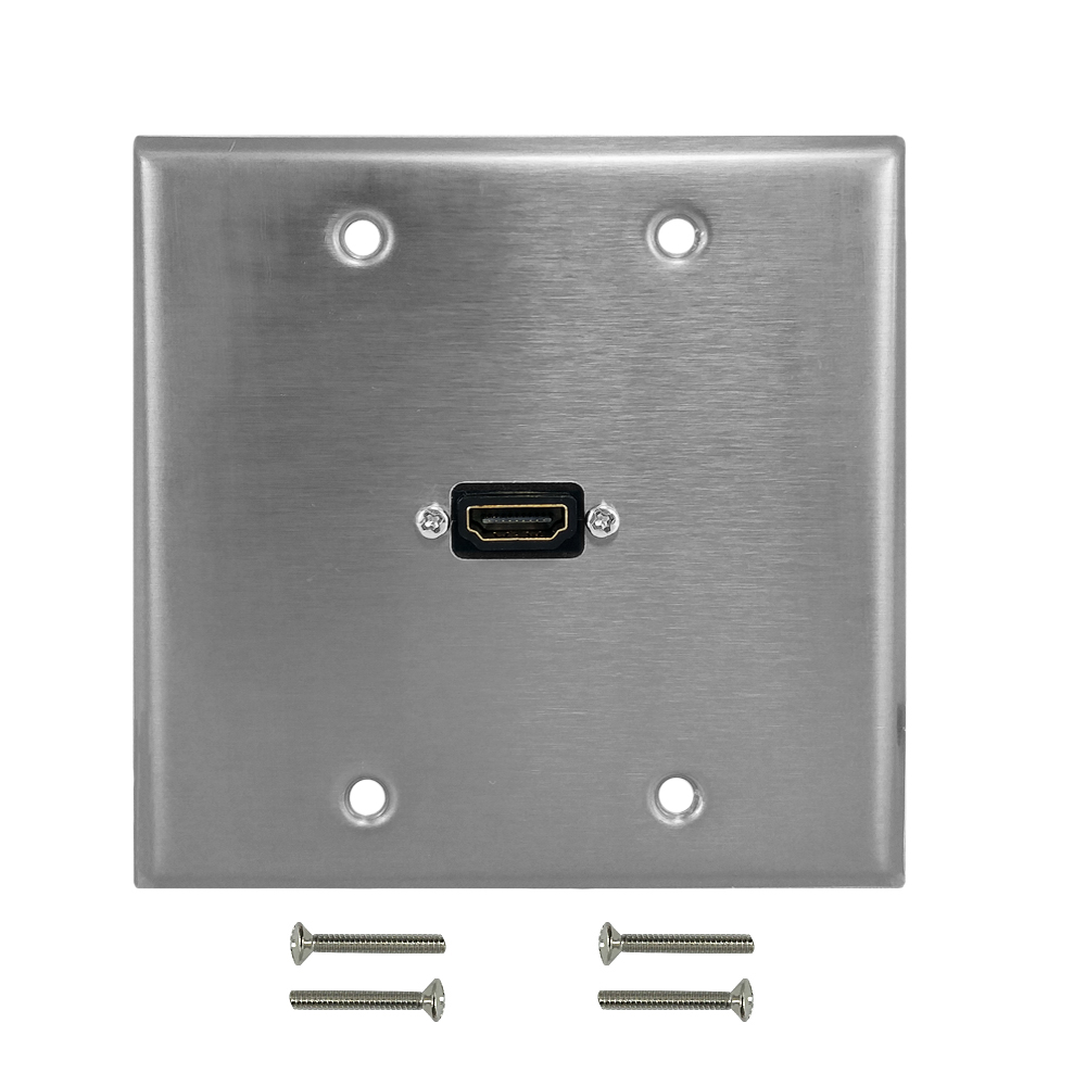 HF-WPK-S-DGH1: HDMI Double Gang Wall Plate Kit - Stainless Steel