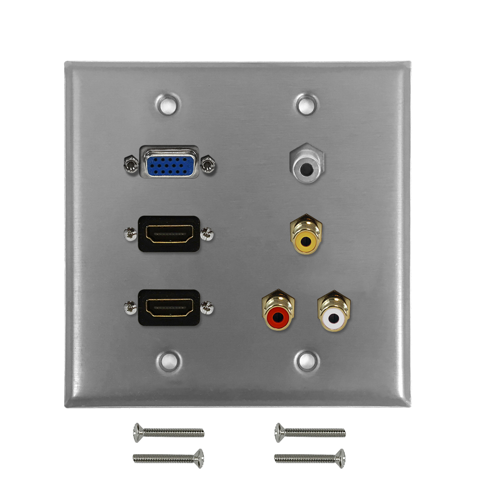 HF-WPK-S-H2VRA35: VGA, 2x HDMI, 3.5mm, RCA Composite + Left/Right Audio Double Gang Wall Plate Kit - Stainless Steel