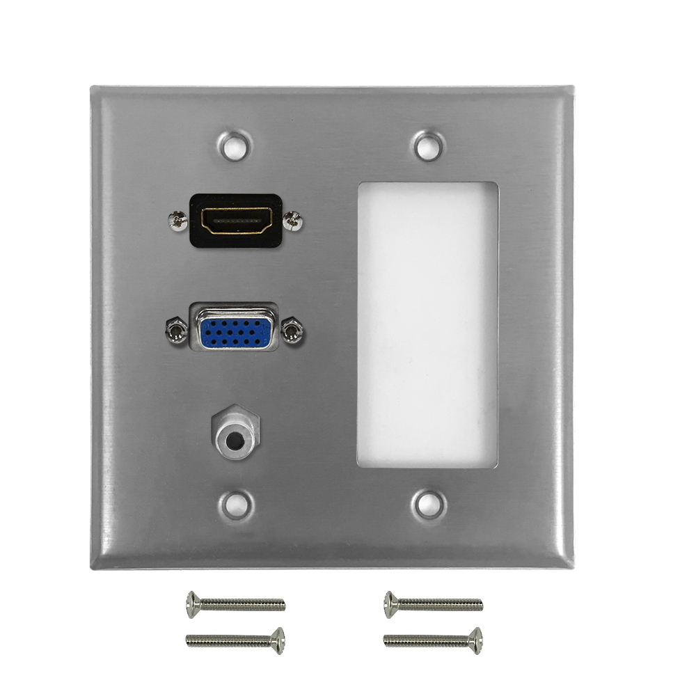 HF-WPK-S-HVA-DG: VGA, HDMI, 3.5mm, Decora Hole Double Gang Wall Plate Kit - Stainless Steel