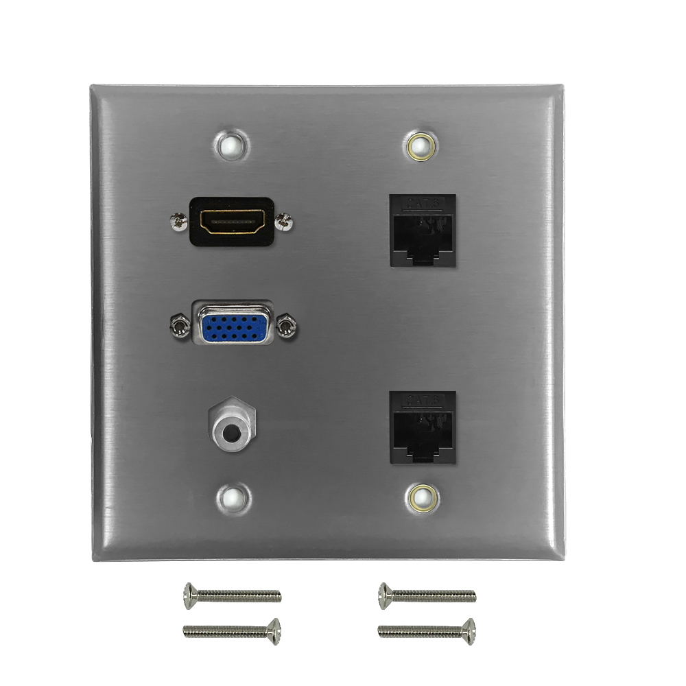 HF-WPK-S-HVA35C62: VGA, 3.5mm, HDMI, 2x Cat6 Double Gang Wall Plate Kit - Stainless Steel