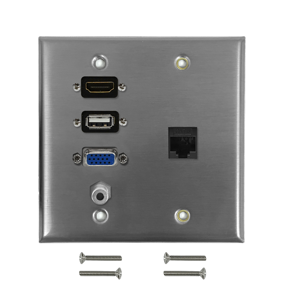 HF-WPK-S-HVUA35CFF: VGA, USB, HDMI, 3.5mm, CAT6 F/F Double Gang Wall Plate Kit - Stainless Steel