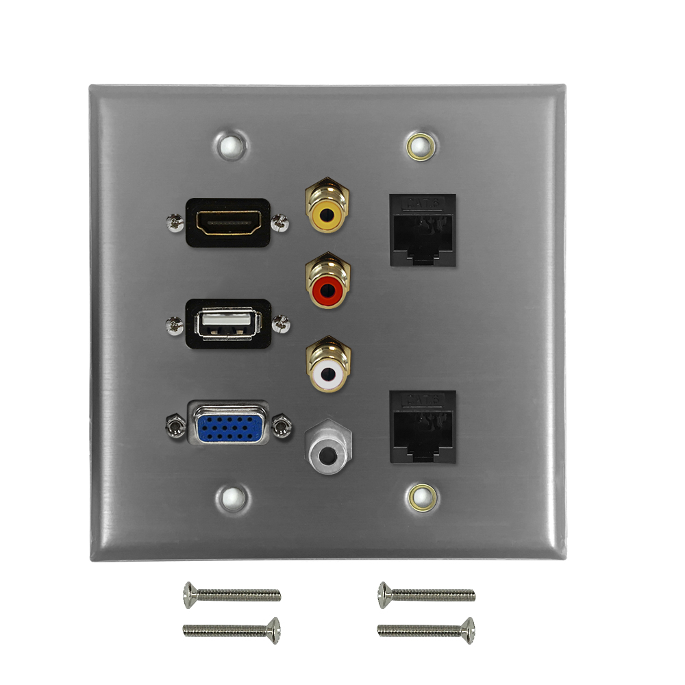 HF-WPK-S-HVUARC62: VGA, USB, HDMI, 3.5mm, RCA Composite + Left/Right Audio, 2x Cat6 F/F Double Gang Wall Plate Kit - Stainless Steel