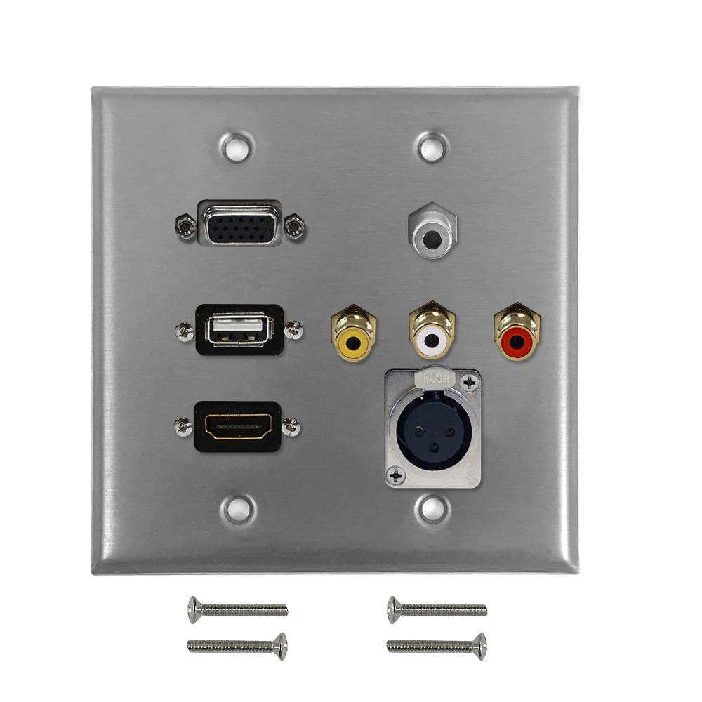 HF-WPK-S-HVUARX: VGA, USB, HDMI, 3.5mm, RCA Composite + Left/Right Audio, XLR Female Double Gang Wall Plate Kit - Stainless Steel