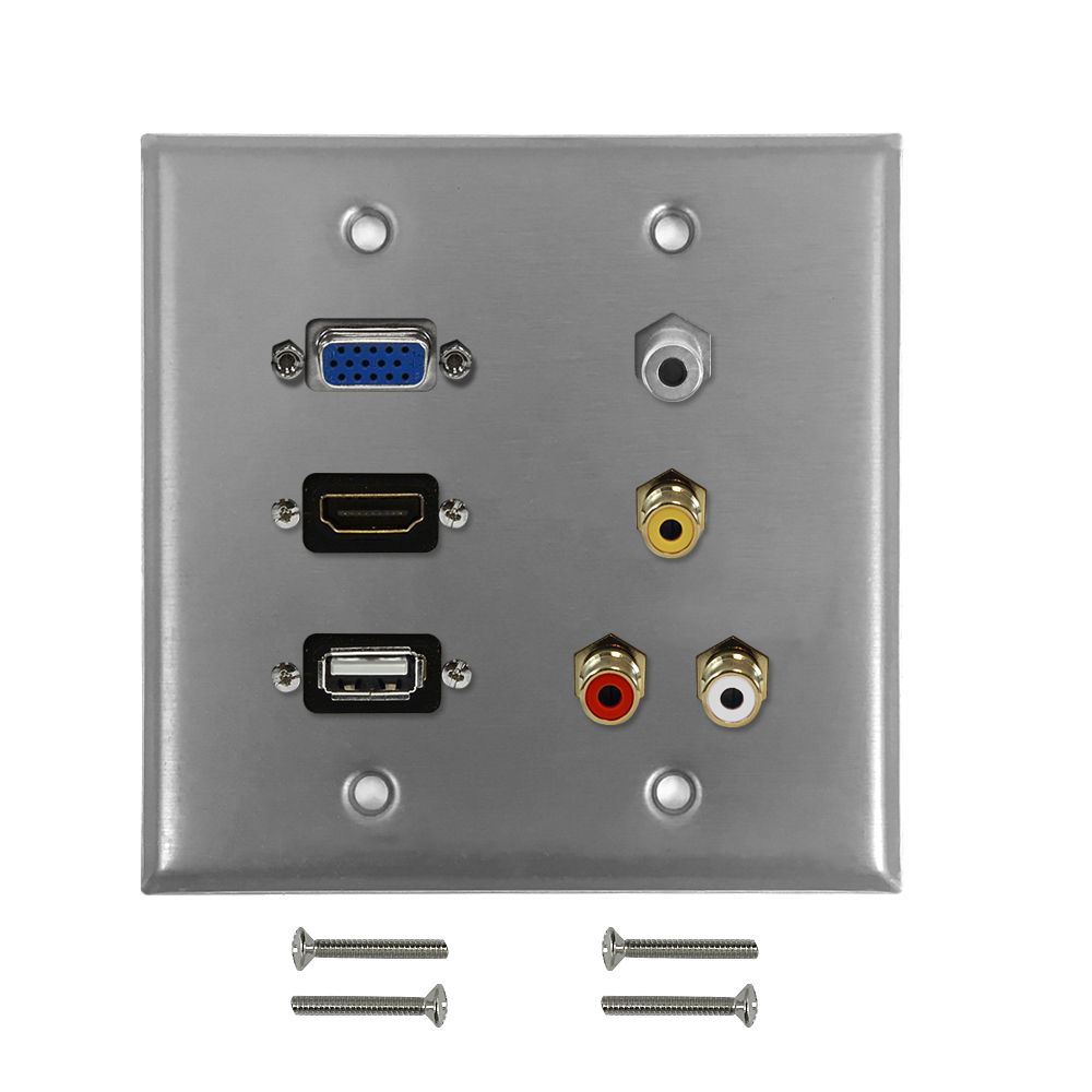 HF-WPK-S-HVURA35: VGA, USB, HDMI, 3.5mm, RCA Composite + Left/Right Audio Double Gang Wall Plate Kit - Stainless Steel