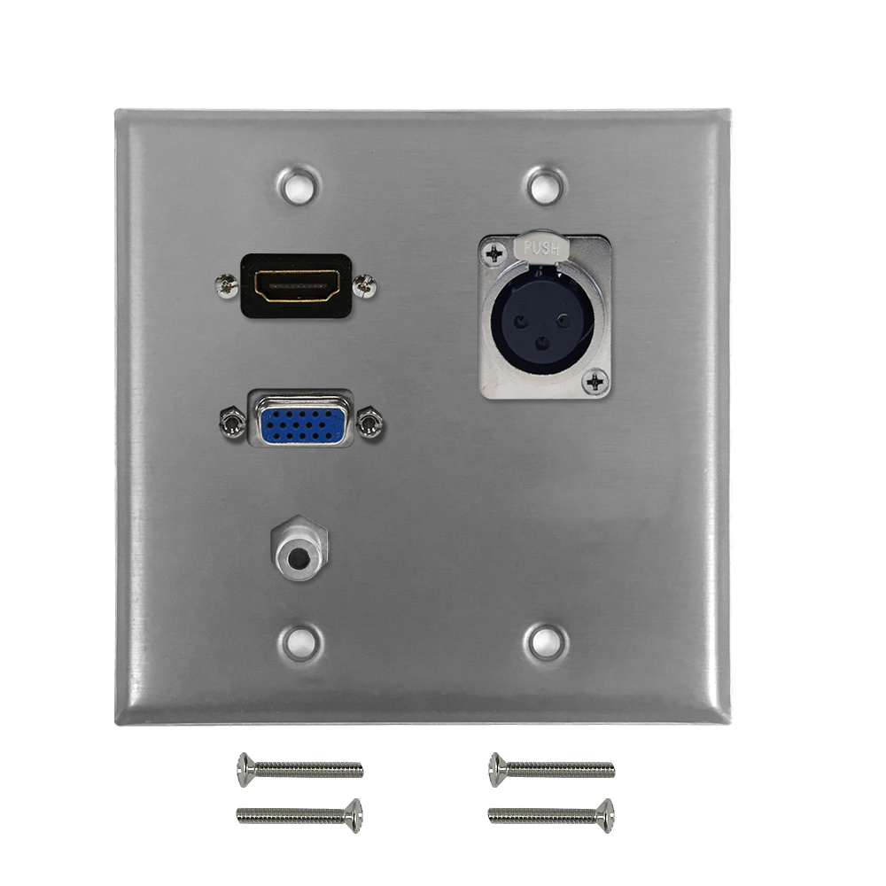 HF-WPK-S-HVXA35: VGA, 3.5mm, HDMI, XLR Locking Female Double Gang Wall Plate Kit - Stainless Steel