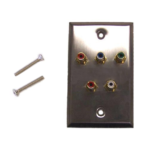 HF-WPK-SCPA: RCA Component + Left/Right Audio Single Gang Wall Plate Kit - Stainless Steel