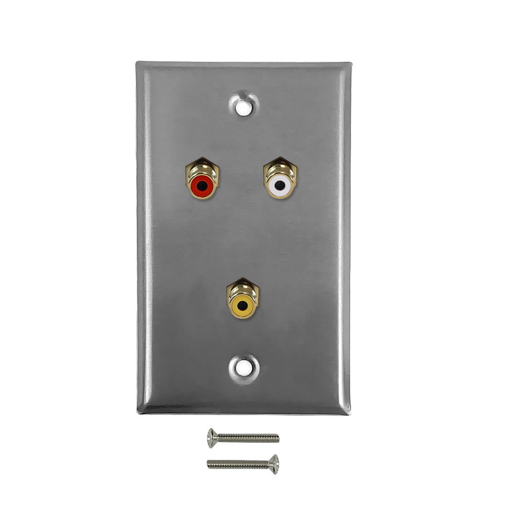 HF-WPK-SCR: RCA Composite + Left/Right Audio Single Gang Wall Plate Kit - Stainless Steel