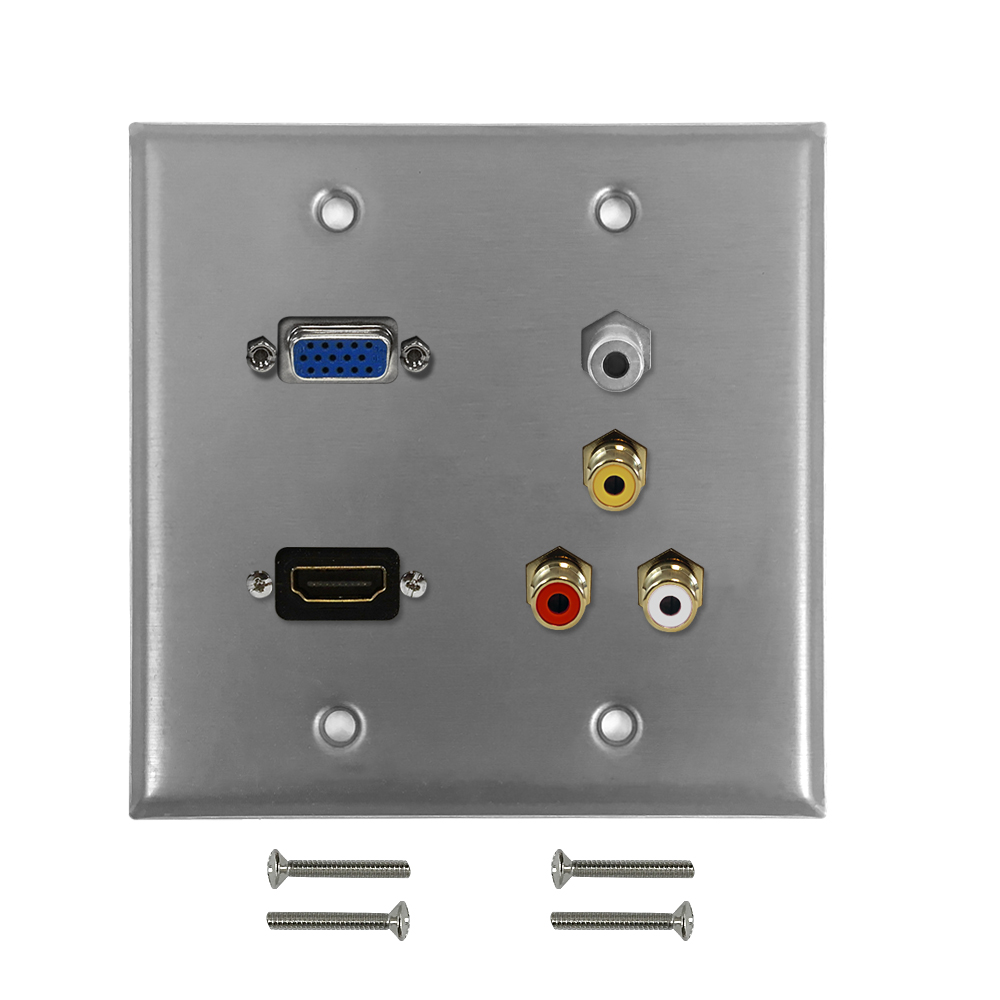 HF-WPK-SDG-HVRA: VGA, HDMI, 3.5mm + RCA Composite + Left/Right Audio Double Gang Wall Plate Kit - Stainless Steel