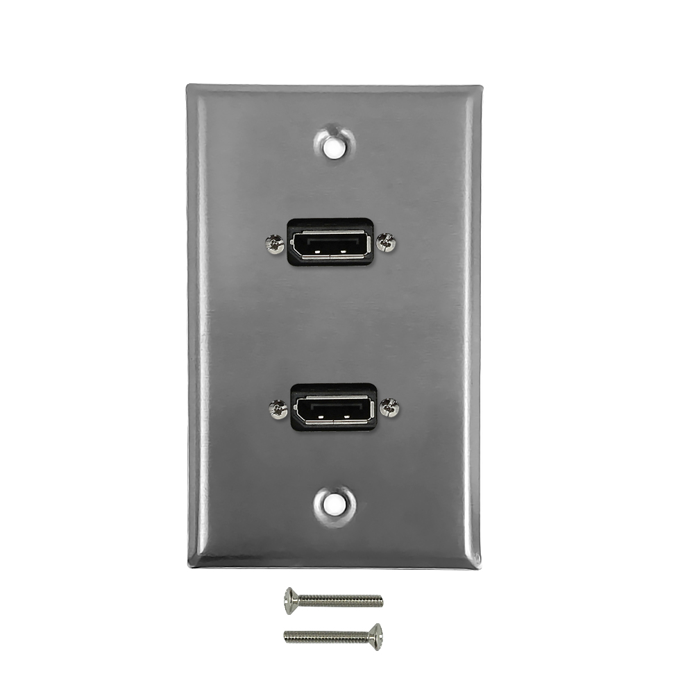 HF-WPK-SDP2: 2-Port DisplayPort Wall Plate Kit - Stainless Steel