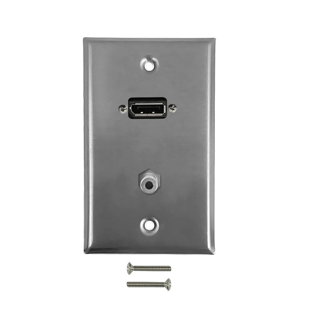 HF-WPK-SDPA: DisplayPort, 3.5mm Single Gang Wall Plate Kit - Stainless Steel