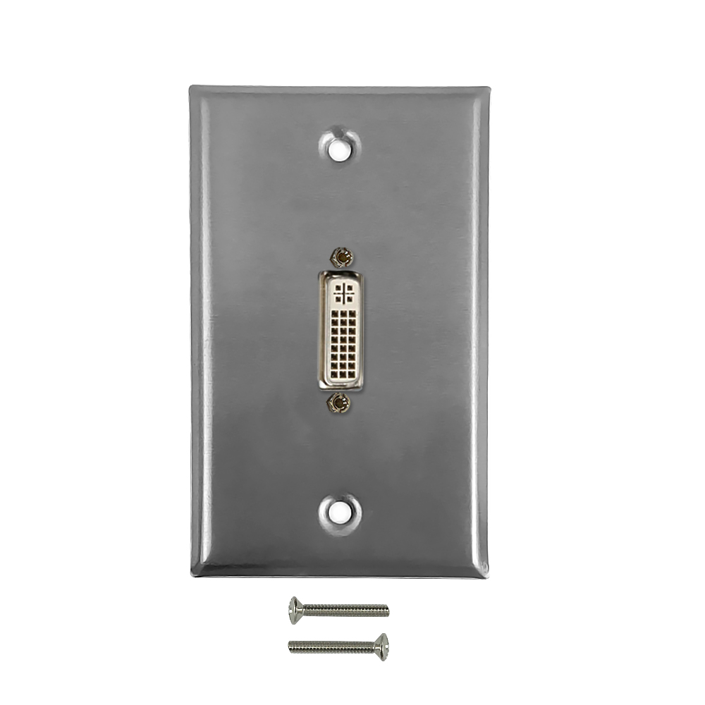 HF-WPK-SDVI1: 1-Port DVI Wall Plate Kit - Stainless Steel