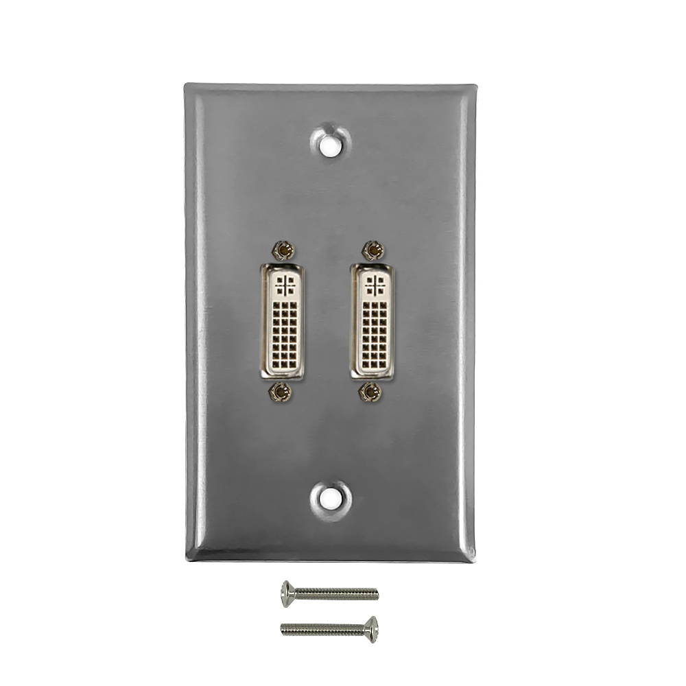 HF-WPK-SDVI2: 2-Port DVI Wall Plate Kit - Stainless Steel