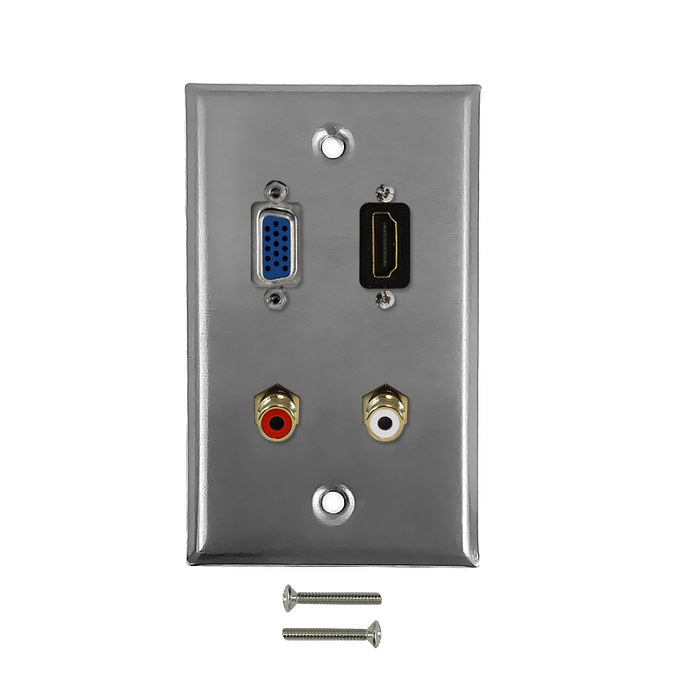 HF-WPK-SHVR: VGA, HDMI, RCA + Left/Right Audio Single Gang Wall Plate Kit - Stainless Steel