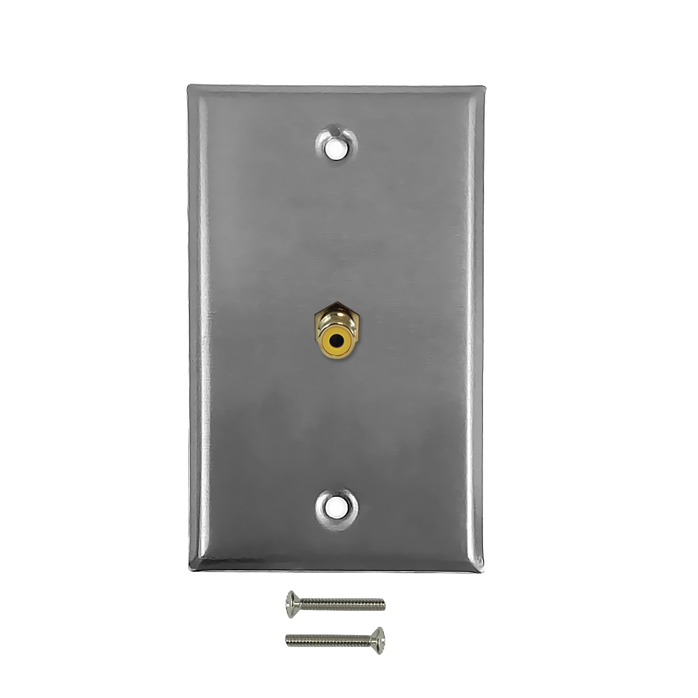 HF-WPK-SRA: RCA Composite Single Gang Wall Plate Kit - Stainless Steel