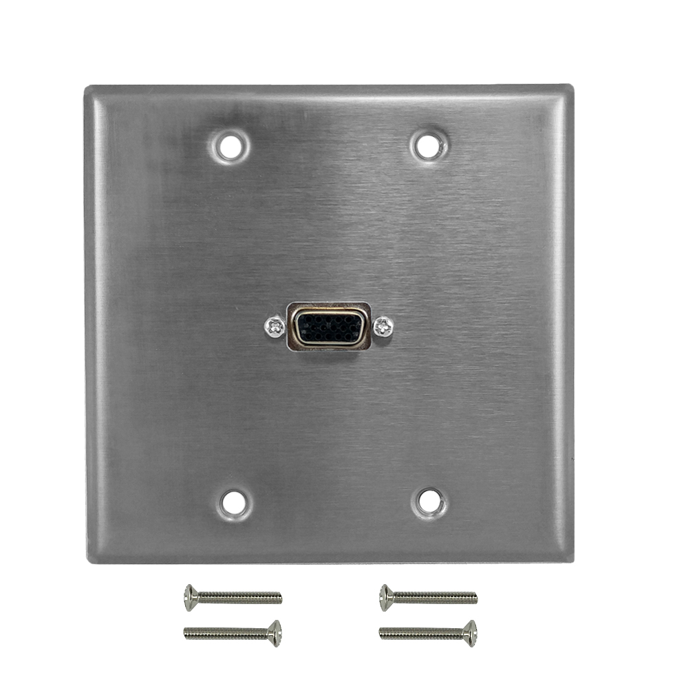 HF-WPK-SS-212: VGA Double Gang Wall Plate Kit - Stainless Steel