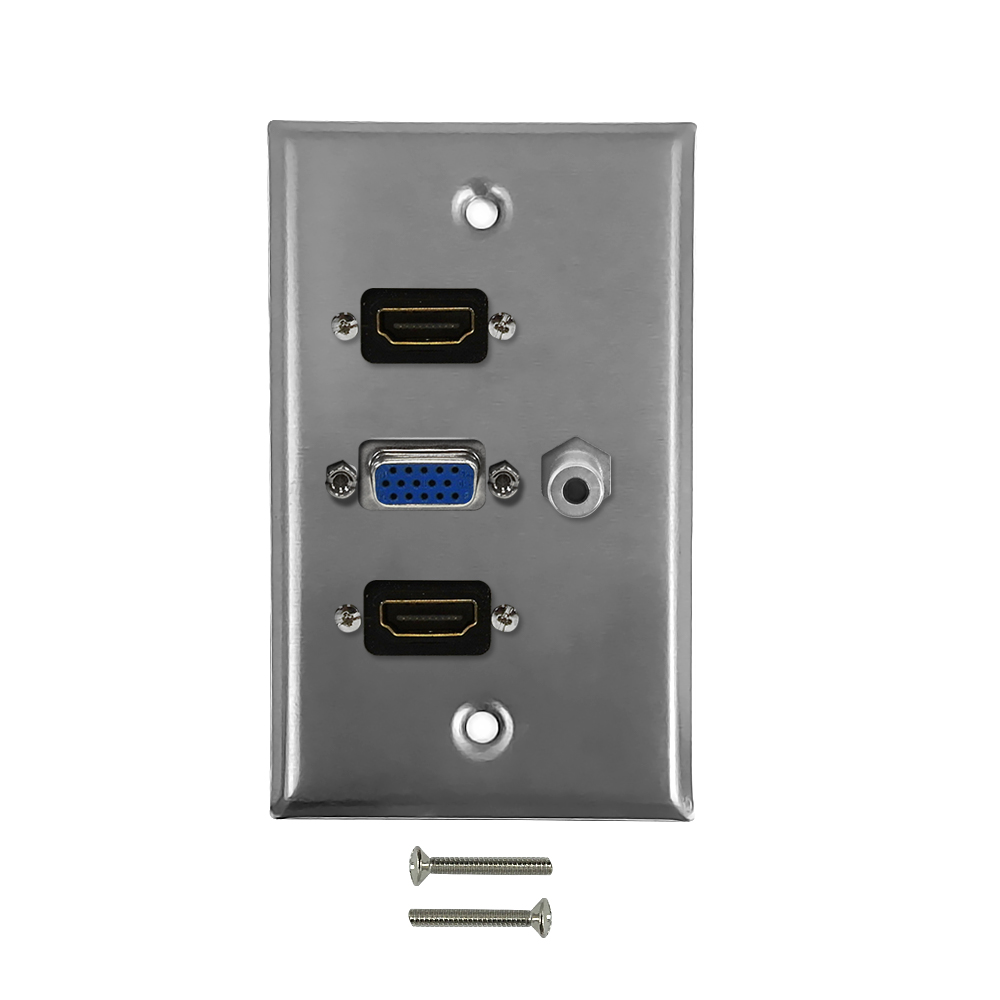 HF-WPK-SS-H2V1: VGA, 3.5mm, 2x HDMI Single Gang Wall Plate Kit - Stainless Steel