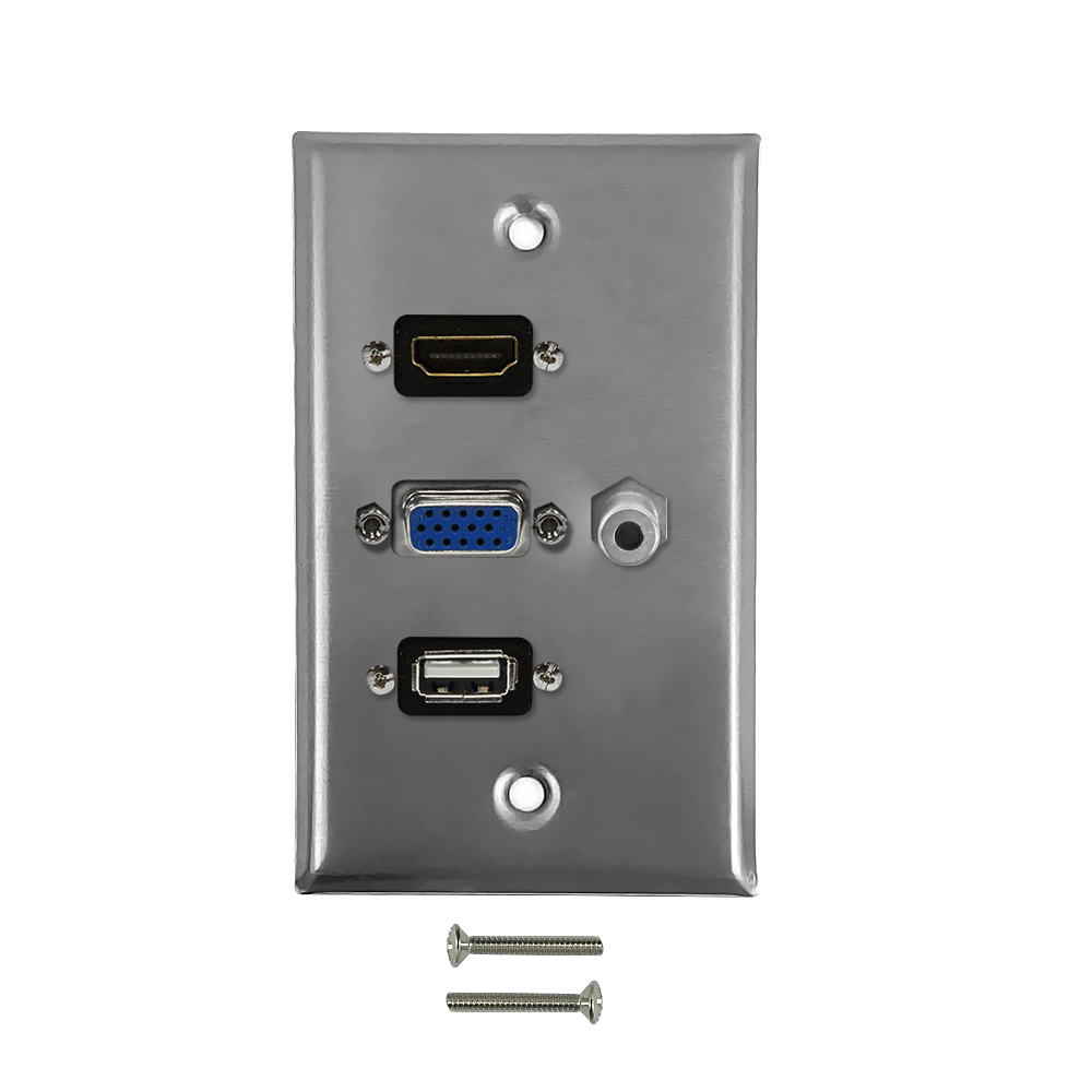 HF-WPK-SS-HVA35: VGA, 3.5mm, HDMI, USB Single Gang Wall Plate Kit - Stainless Steel