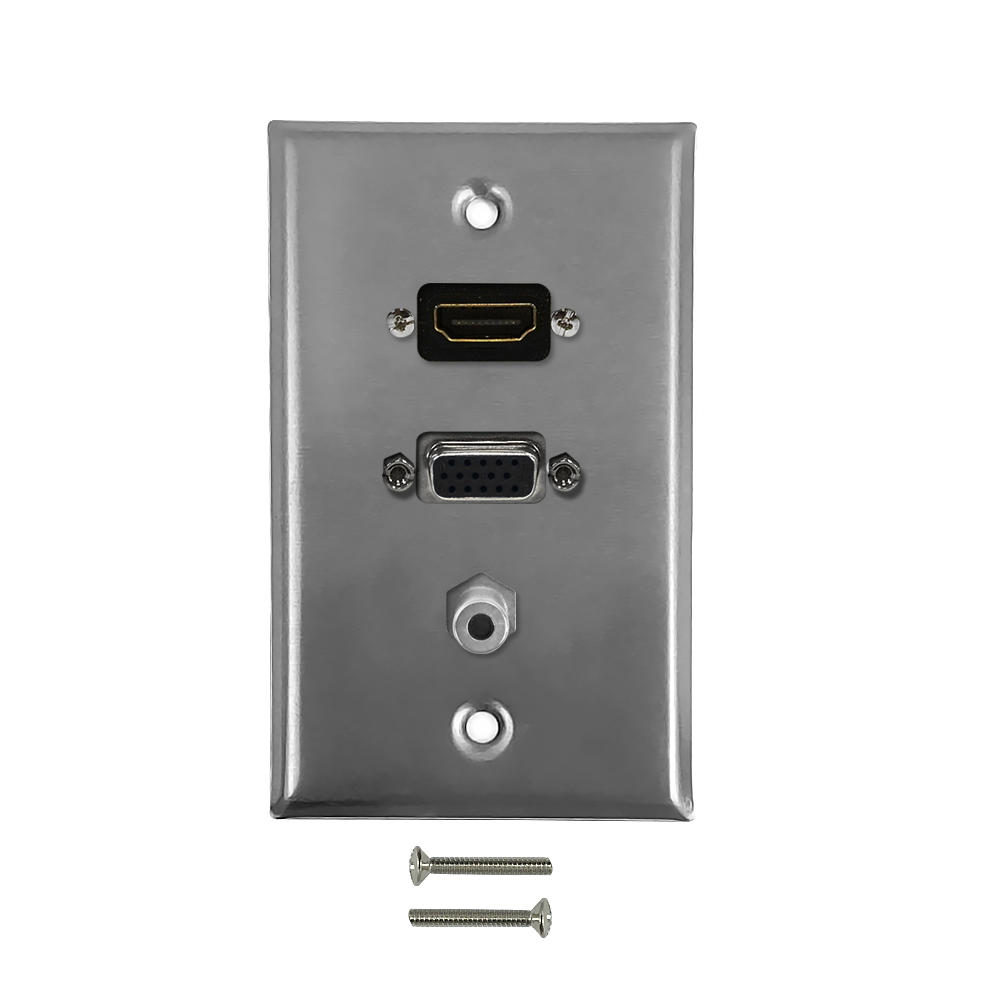 HF-WPK-SSHVA35: VGA, HDMI, 3.5mm Single Gang Wall Plate Kit - Stainless Steel