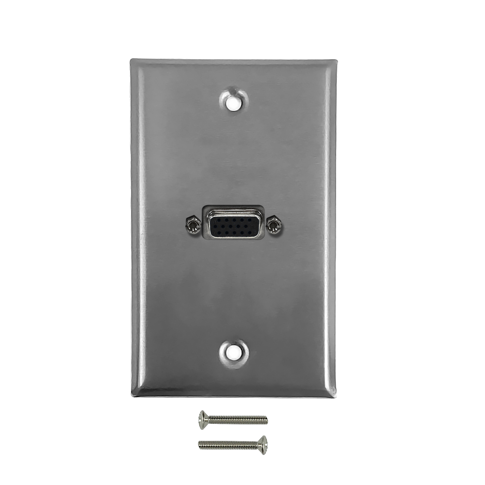 HF-WPK-SV1: 1-Port VGA Wall Plate Kit - Stainless Steel
