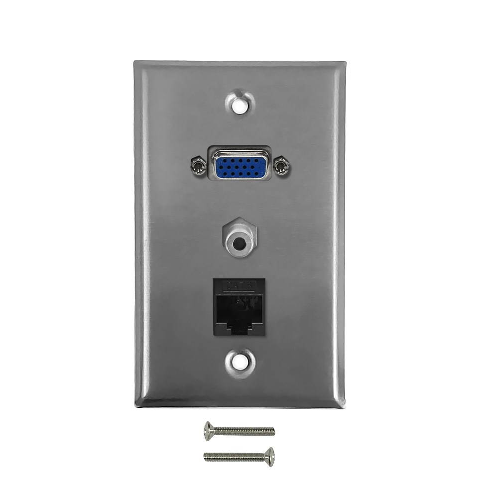 HF-WPK-SVAC6: VGA, CAT 6, 3.5mm Single Gang Wall Plate Kit - Stainless Steel