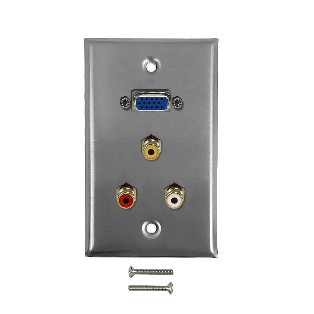HF-WPK-SVVR: VGA, RCA Composite + Left/Right Audio Single Gang Wall Plate Kit - Stainless Steel