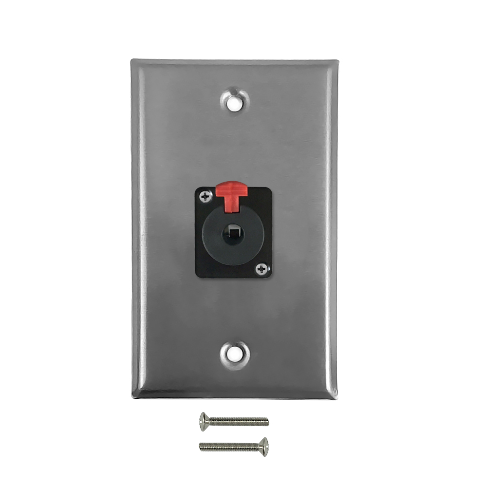 HF-WPK-TRS-1F: 1x TRS Locking Female Single Gang SS Wall Plate Kit - Stainless Steel