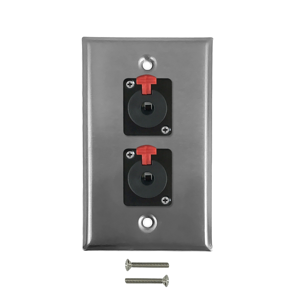 HF-WPK-TRS-2F: Single gang SS wall plate kit (2x TRS locking female)