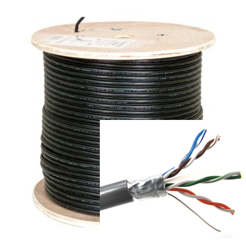 HFCAB--CAT5STP-O: Outdoor 1000ft/305m 4 pair Cat5e solid Direct burial CMX STP - black