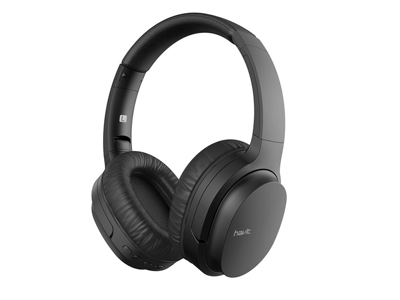 HV-I62: Bluetooth V5.0 90 degree Rotating, MicroSD, MP3, AXU jack, Wireless headphone with Mic_Black color