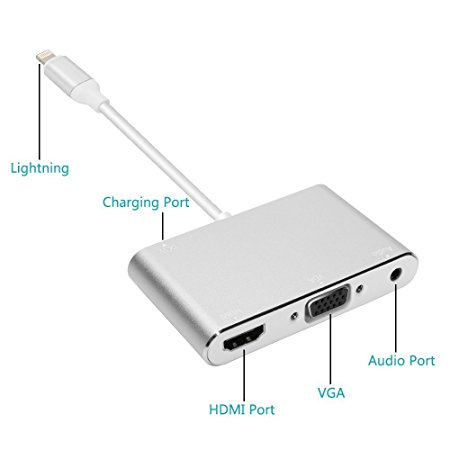 LHVA-A: 3-IN-1 Plug & Play Lightning To HDMI + VGA + Audio Adapter for iphone/ipad