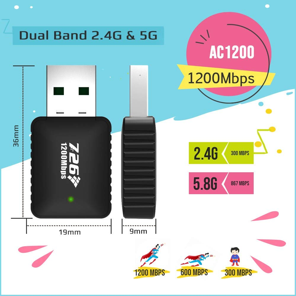MAG-W1200: WiFi Adapter 1200Mbps WiFi Dongle Mini Dual Band 2.4G/5G USB Wireless Network Adapter Support for MAG 254 256 322 Mag322w1 Mag324w2
