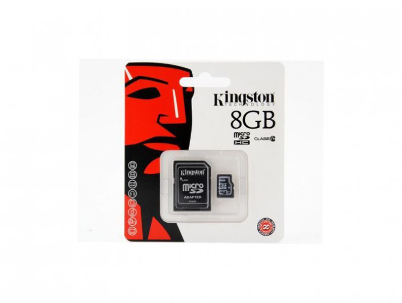MicroSD-Kingston-C10-08G: Kingston micro SDC10/8GB Flash Card - 8GB, Class 10