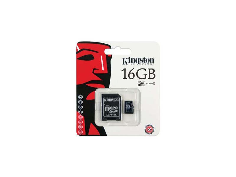 MicroSD-Kingston-C10-16G: Kingston microSDHC Flash Card - 16GB, Class 10